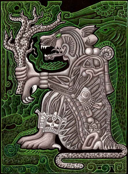 ilustración de la mitología azteca